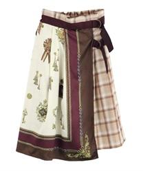 【OUTLET】スカーフ柄ラップスカート(茶-M)