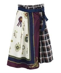 【OUTLET】スカーフ柄ラップスカート(紺-M)