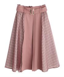 サイドチェックシフォンスカート(濃ピンク-M)