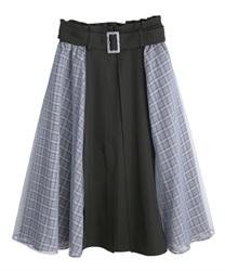 サイドチェックシフォンスカート(黒-M)
