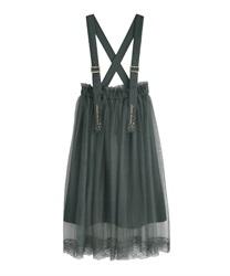 刺繍サス付チュールスカート(グリーン-M)