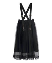 刺繍サス付チュールスカート(黒-M)
