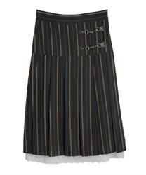 【2点5000円対象 /WEB限定】ビットデザインプリーツスカート(紺-M)