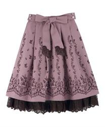 【OUTLET】【GWフェア/2点10%OFF対象】リボン付パネル刺繍スカート(淡ピンク-M)