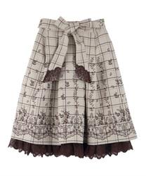 【OUTLET】【GWフェア/2点10%OFF対象】リボン付パネル刺繍スカート(ベージュ-M)