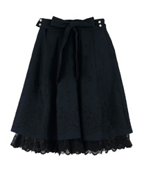 【OUTLET】【GWフェア/2点10%OFF対象】リボン付パネル刺繍スカート(紺-M)