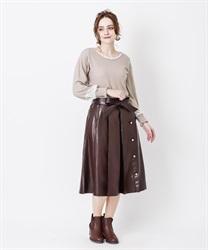 【OUTLET】【Web価格】エコレザープリーツスカート