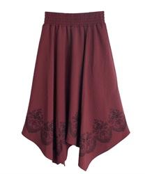 裾刺繍イレヘムスカート(赤-M)