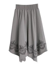 裾刺繍イレヘムスカート(グレー-M)