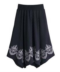 裾刺繍イレヘムスカート(紺-M)