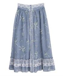 すずらん柄前ボタンスカート(ブルー-M)
