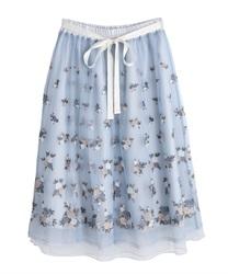 ローズガーデン刺繍スカート(サックス-M)