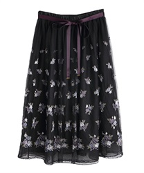 ローズガーデン刺繍スカート(黒-M)