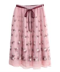 ローズガーデン刺繍スカート(ピンク-M)