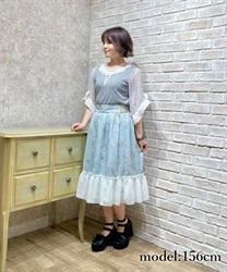 【予約】ティータイム柄フレアスカート【Web限定商品】