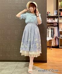 紫陽花パネル柄スカート