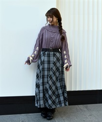 【OUTLET】【Web限定】チェックパッチワークスカート
