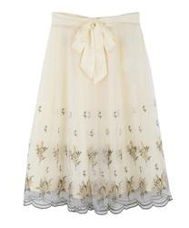 ミモザ刺繍チュールスカート(生成り-M)