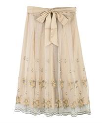 ミモザ刺繍チュールスカート(イエロー-M)