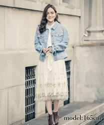 ミモザ刺繍チュールスカート