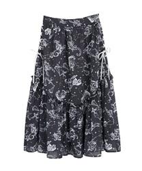 星座柄サイドレースアップスカート(紺-M)