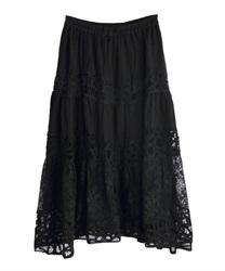 バテンレースロングスカート(黒-M)