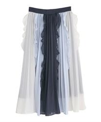 配色フリル×プリーツスカート(紺-M)