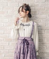 【均一価格/WEB限定】すみれ刺繍シフォンプルオーバー
