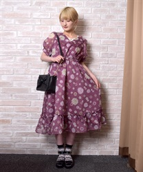 【OUTLET】花柄プリントセーラーワンピース