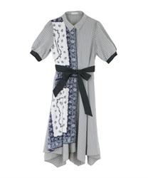 【均一価格/WEB限定】スカーフ切替シャツワンピース(紺-M)