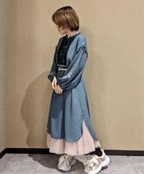 【10%OFF対象】チャイナ釦ロングシャツワンピース