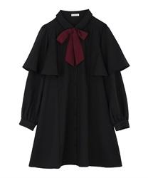 ケープデザインワンピース(黒-M)