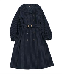 【OUTLET】【Web限定】トレンチ風ワンピース(紺-M)