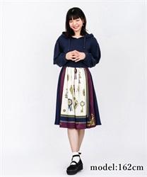 【OUTLET】スカーフ柄パーカーワンピース【Web価格】(紺-M)