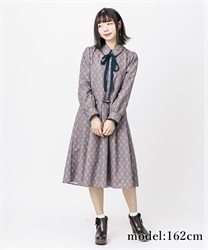 【OUTLET】【Web価格】フラワーチェックワンピース