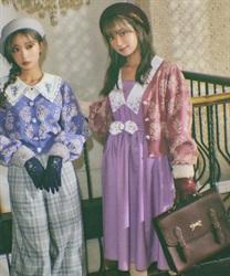 【予約】フラワー刺繍レトロワンピース