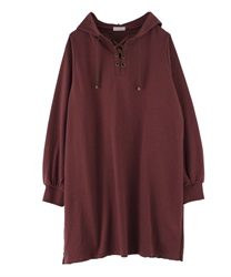 【OUTLET】【Web限定】バックプリーツパーカーワンピース(茶-M)