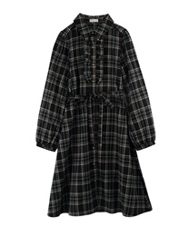 【OUTLET】【2点10%OFF】【Web限定】フリルシャツワンピース(黒-M)