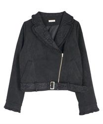 スエードフリルライダースジャケット【Web価格】(黒-M)
