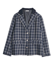 【OUTLET】【Web価格】タータンチェックジャケット(紺-M)