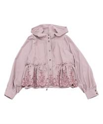 フラワー刺繍ブルゾン(淡ピンク-M)