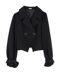 ボリューム袖ショートジャケット(黒-M)