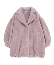 【OUTLET】ボアロングコクーンコート(淡ピンク-M)