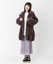 【OUTLET】ボアロングコクーンコート(モカ-M)