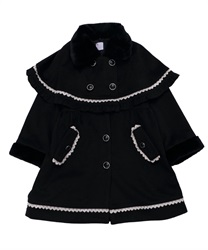 【OUTLET】【Web限定】 (キッズ)ケープ付クラシカルコート(黒-M)