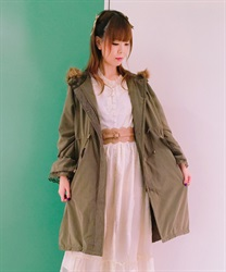 【OUTLET】【2点10%OFF対象】フロント刺繍モッズコート