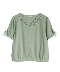 ローズ刺繍カットカーディガン(グリーン-M)