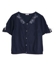 ローズ刺繍カットカーディガン(紺-M)