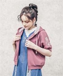 【web価格/15H限定】袖花刺繍半袖ショートパーカー(濃ピンク-M)