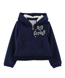 【OUTLET】【Web限定】(キッズ)柄リボン使い裏ボアパーカー